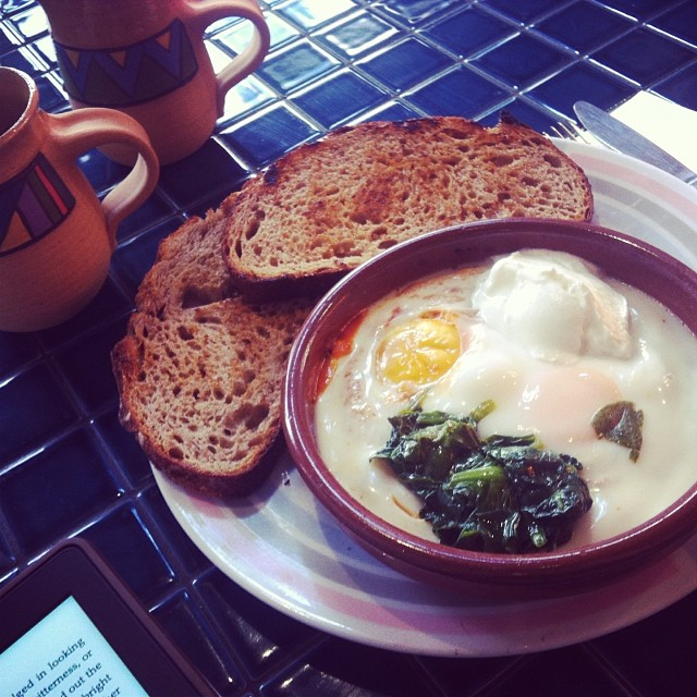 Soft baked eggs at Reuben Hills